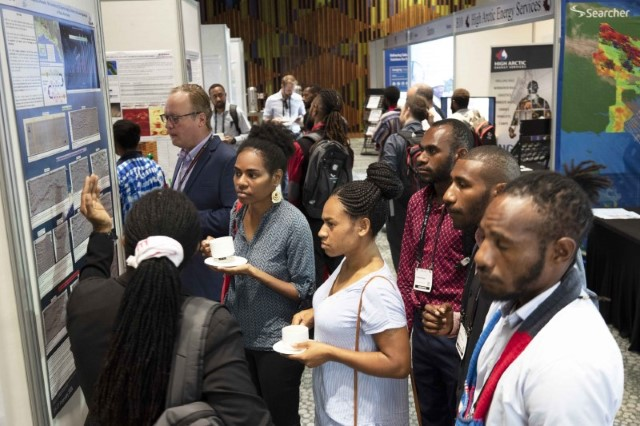 Univ of PNG Students in Exhibition Hall